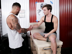 Sissy twinks wants tattoo and needs to gets fucked first
