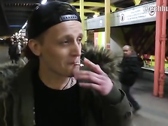 Charming young dude got hooked on railway station