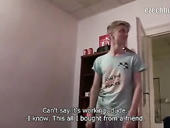 Teen blonde twink gets seduced by naughty hunk
