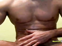 Gay with exciting tight body shape is hotly wanking dick