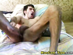 Twink is fucking ass with pole and fingers