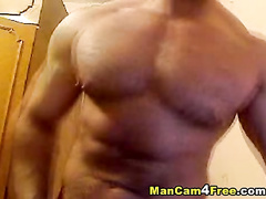 Twink with exciting hot body is posing and masturbating