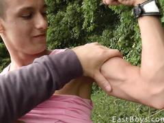 Lewd boy gets young dick masturbated outdoor