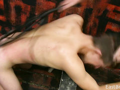 Gay guy gets whipped and bareback fucked