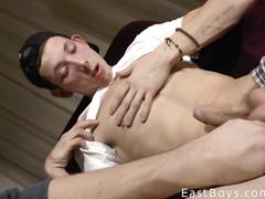Gay in checked pants gets masturbated