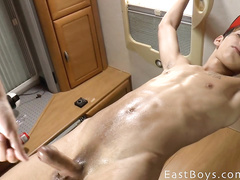 Very young boy in masturbational disposal