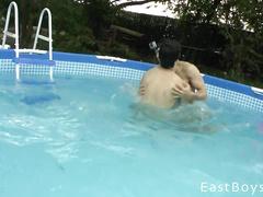 Guys having raunchy sex fun in the pool