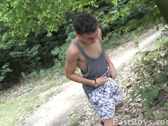 Young gay boy underpant masturbation outdoor