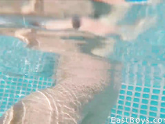 Big cock gay masturbation in the pool